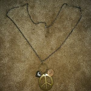 Extra long chain peace necklace